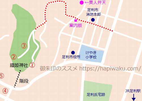美人弁天のマップ