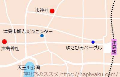 津島神社のアクセスマップ